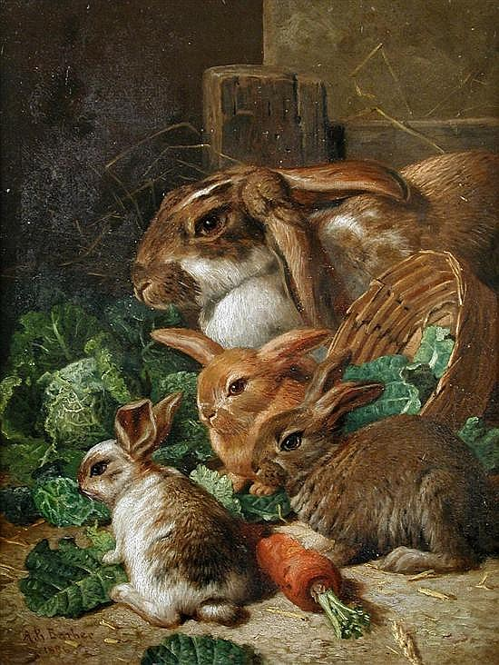 Alfred Richardson Barber (British, fl.1873-1893) A Rabbit Family with Carrots and Cabbages signed lower left