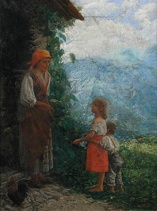 Noe Bordignon, Children Offering Wildflowers to an Elderly Woman - oil on canvas