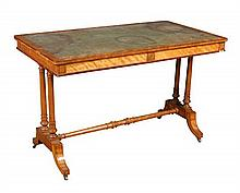 A late 19th century satinwood writing table, circa 1880