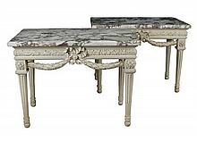A pair of Louis XVI style French grey painted console tables, 19th century