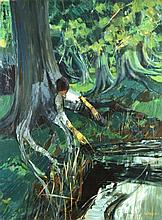 """§ Roy Cross (British, 1927-1987) Figure beneath a tree signed and dated lower right """"Cross '66"""""""