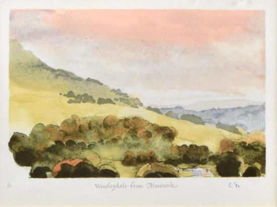 § HRH Charles, The Prince of Wales  View of Wensleydale from Moorcock numbered 23/295 and initialled and dated in pencil