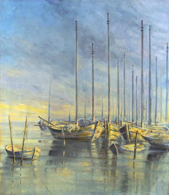 § Enrique Romero Santana (Spanish, b. 1947) Sailing boats in harbour