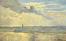 Edward Marie Petitjean (French, 1844-1925) Fillette Regardant la Mer signed lower right