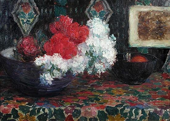 Louise Coupe (Belgian, 1877-1915) Still Life of Roses and White Lilac in a Bowl signed lower left