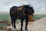 """Evelyn Harke (British, exh.1899-1910) Plough Horse at Breakfast signed lower right """"E Harke"""""""
