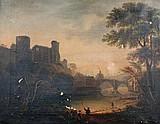 James Miller (British, 19th Century) - View of Barnard Castle with Fisherfolk