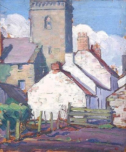 Joseph Simpson (British, 1879-1939) Cottages by a