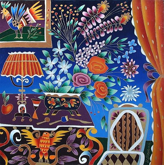 Yuri Gorbachev (Russian) Exotic Still Life with Flowers, Birds and Tablelamp.  Signed Y.Gorbachev '93