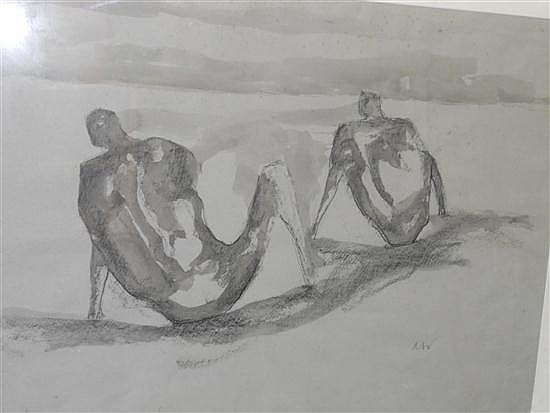 § Austin Wright (British, 1911-1997) Beach Figures; and Figure Group signed bottom right with initials