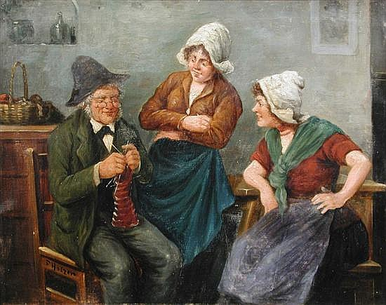 F Holzer (Austrian, 19th Century)-  Card Players in a Tavern; and signed lower right