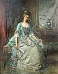 """J Edgar Mitchell (British, 1871-1922) - Portrait of a Young Girl in Georgian Dress - signed lower right """"J Edgar Mitchell"""""""