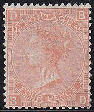 4d, Plate 14, (BD) vermillion, unmounted mint,
