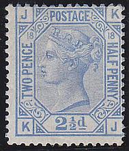 2½d, Plate 18 (KJ), blue, unmounted mint,