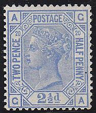 2½d, Plate 20 (CA), blue, unmounted mint,