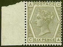 6d, plate 14 (CA), grey, unmounted mint, marginal copy,