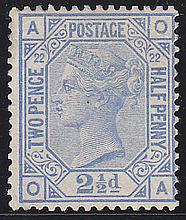 2½d, Plate 22 (OA), blue, unmounted mint,