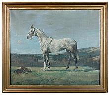 """§ Nina Colmore (British, 20th Century) - Study of a grey hunter in a landscape - signed lower left """"Colmore '30"""""""
