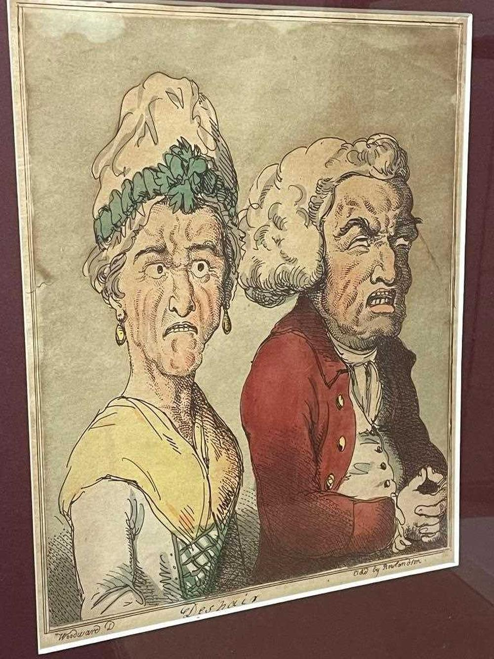 Thomas Rowlandson (1757-1827) after George M. Woodward Le Brun Travested, or Caricatures of the Passions, a group of eight framed character etchings (from a set of 20), with hand colour, captions below, some browning and staining, each approx. 26...