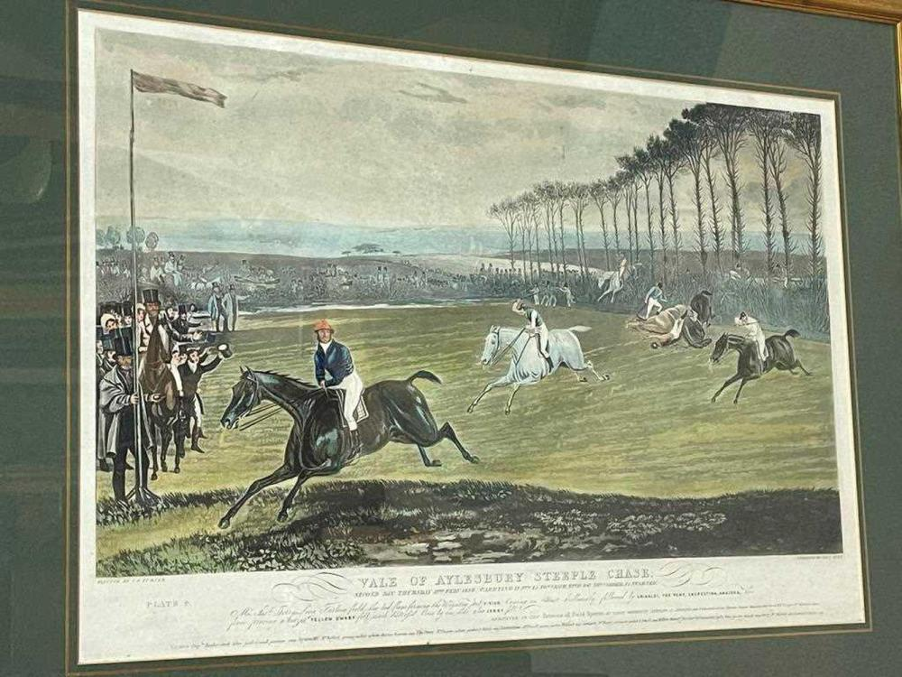 Charles Hunt after Francis Calcraft Turner (1795-1865), Vale of Aylesbury Steeplechase, 1836, plates 1-4, hand coloured aquatints, 38 x 58cm (4)
