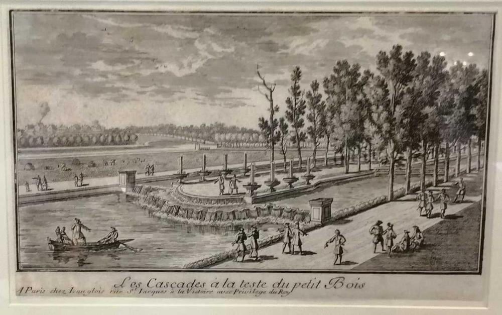 Three architectural engravings. John Sell Cotman (1782-1845), Wallington Hall, engraving, 31 x 23cm (pl.); Adam Perelle (1640-1695), Les Cascades a la Teste du petit Bois, engraving, 11 x 19cm (pl.); Giovanni Cassini (1625-1712), Vestigie delle...
