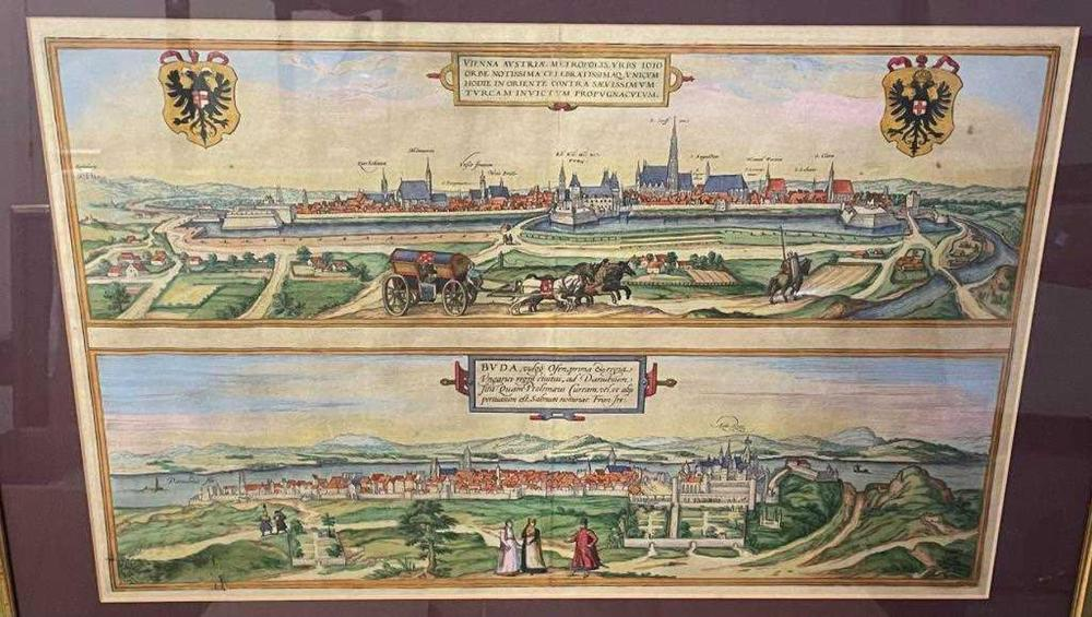 BRAUN and HOGENBERG. Vienna / Buda. Double-page engraving with city views of Vienna above Budapest, circa 1575 or later, titles in Latin, with hand colouring, 32 x 48.5cm; together with a large bird's eye view of Vienna, line engraving with hand...