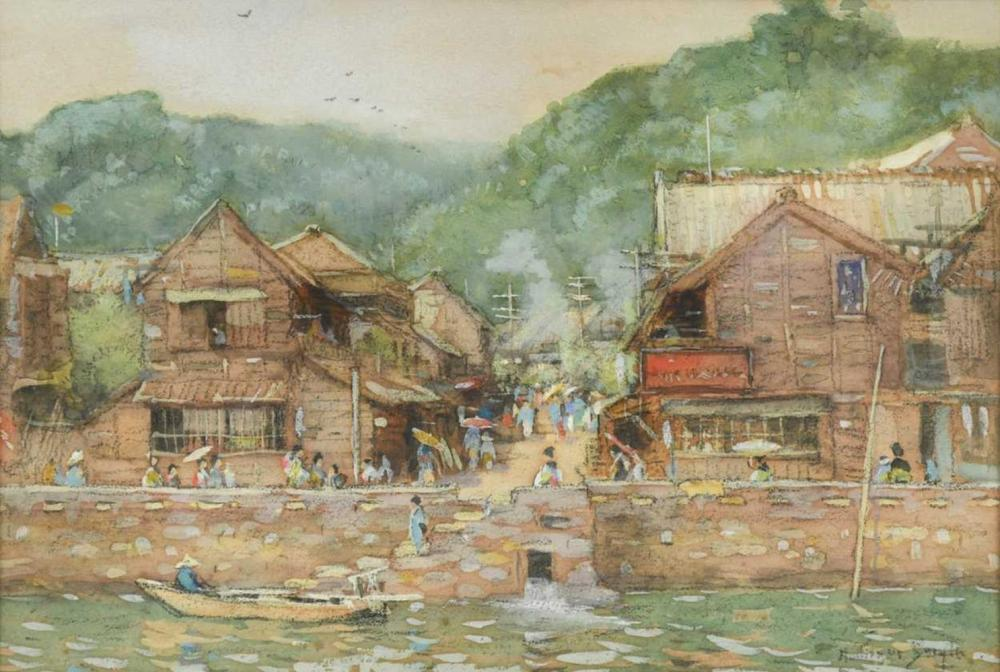 Montague Smyth (1863-1896) Yokohama [original illustration to Old and New Japan publ. 1907 by J M Dent & Co], signed 'Montague Smith' (lower right), watercolour and gouache on paper, 22.5 x 33.5cm