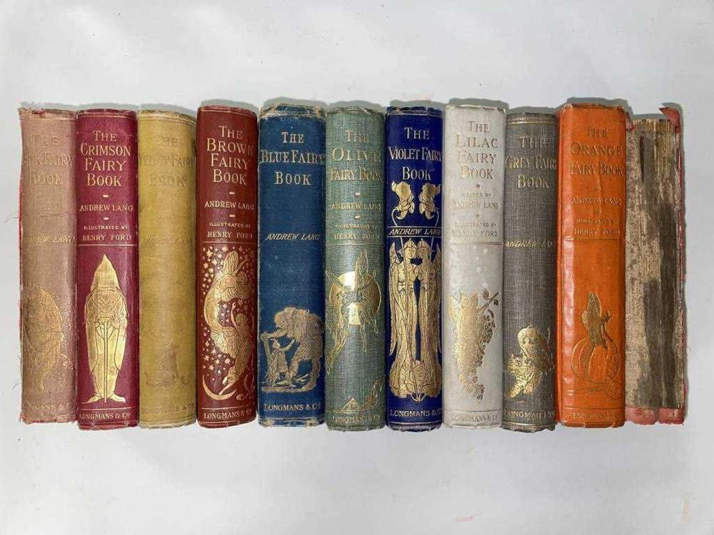 LANG (Andrew) Collection of 11 Fairy Books, first editions unless otherwise stated, in original decorative cloth bindings, some with contemporary inscriptions, including: The Yellow Fairy Book 1894, slight spotting; The Pink Fairy Book 1897,...