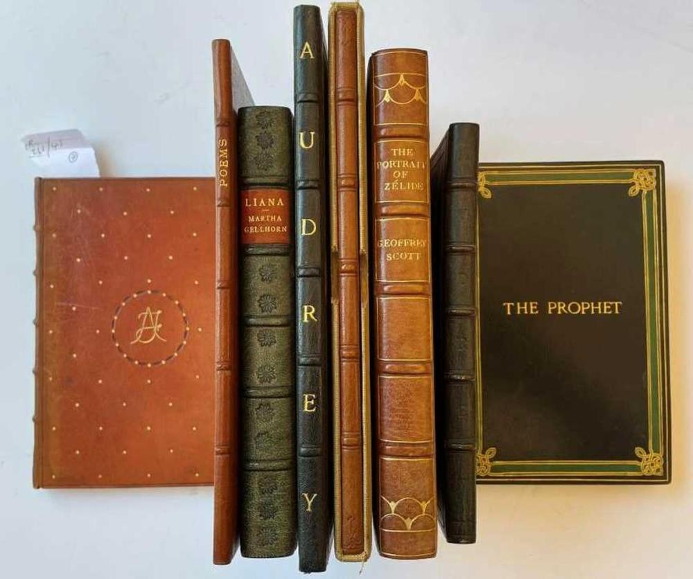 Bindings. HOUSMAN (A E) More Poems, first edition 1936, 8vo, full morocco with star motifs around an 'AF' [Audrey Field] monogram, signed D C & Son 1936 [Douglas Cockerell & Son], some foxing to fore edge; two slim vols. of poems by Audrey Field...