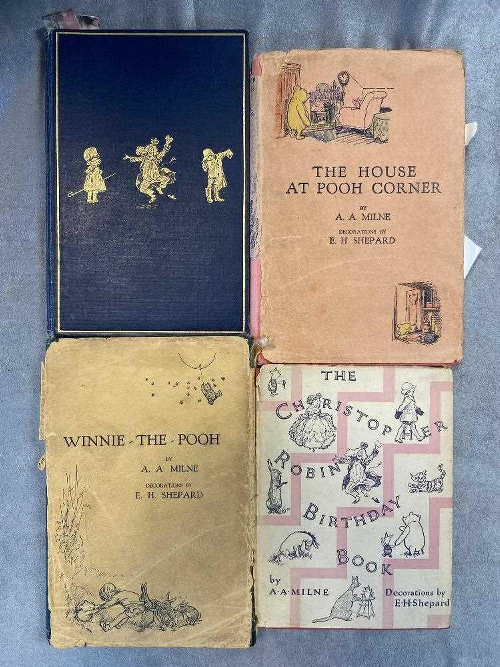Milne (A A) Winnie-The-Pooh, 1st edition 1926, contemporary gift inscription, dust jacket damaged and incomplete; The House at Pooh Corner, 1st edition, 1928, dust jacket damaged and incomplete with added colour to front illustrations; When We...