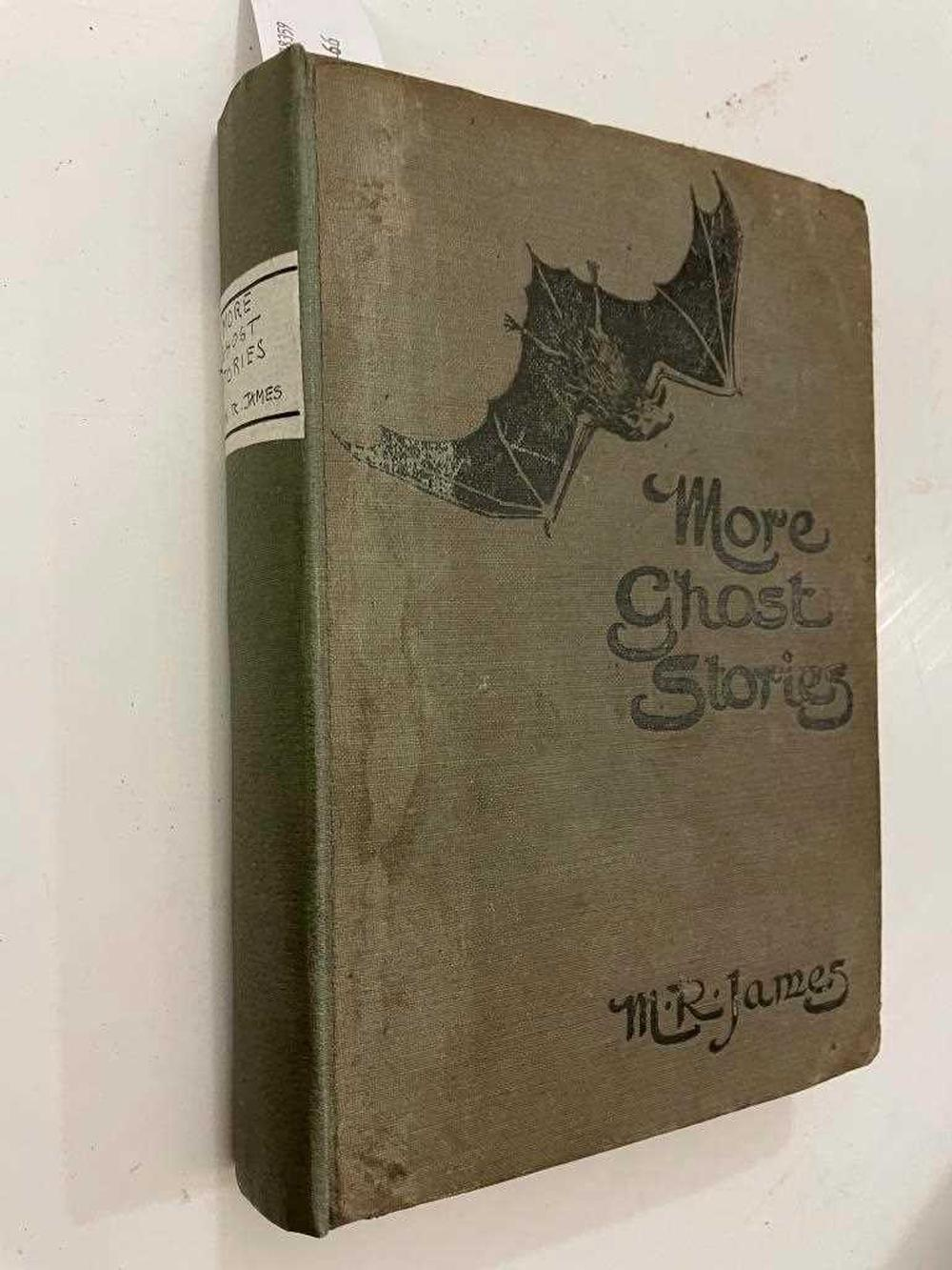 JAMES (M R) More Ghost Stories of an Antiquary, 1st edition London: Edward Arnold 1911, 8vo, half title, 2pp. publisher's catalogue at rear, a few leaves coarsely opened, sporadic marginal staining, publisher's grey pictorial cloth with modern...
