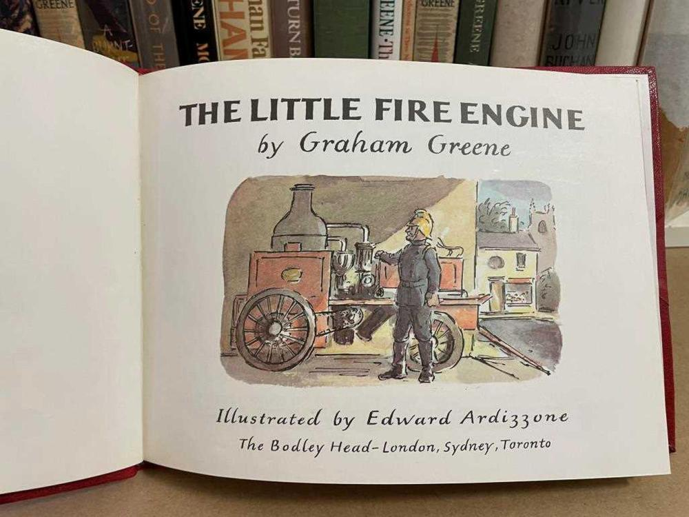GREENE (Graham). First editions: The End of the Affair 1951, Our Man in Havana 1958, The Human Factor 1978, A Burnt-Out Case 1961, The Quiet American 1956, The Little Fire Engine, 1973, illustrated by Ardizzone, half red morocco; also BUCHAN (J)...