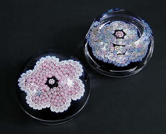 Two Whitefriars millefiori glass paperweights,