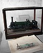 A model live steam engine in glazed mahogany case,
