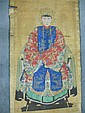 A 19th century Chinese scroll ancestor portrait together with a sleeve panel