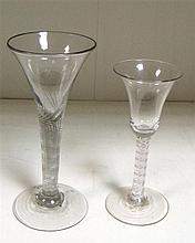 An 18th century soda air twist and a soda wrythen stemmed wine glass,