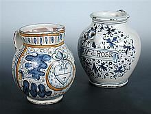 An 18th century blue and white wet drug jar, possibly Savona and a later maiolica jug, possibly Florentine,