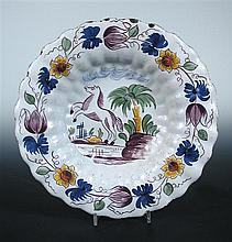 A mid 18th century Delft dish, possibly Frankfurt or Scandinavian,