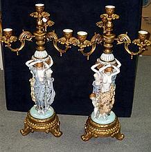 A pair of 20th century Dresden candelabra,