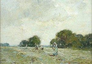 [ Oil Paintings ] Adam Proctor, RBA (1864-1913)Turning the Hay, signed lower right