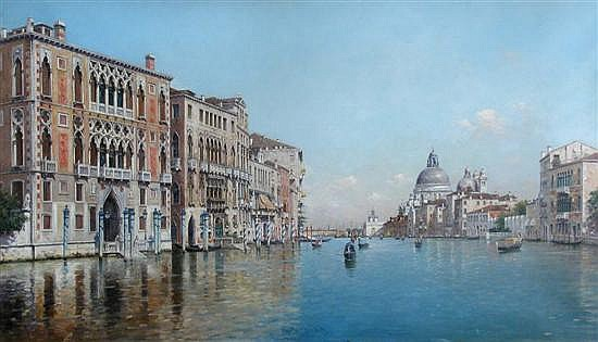 Rafael Senet y Perez  - View of the Grand Canal, Venice - oil