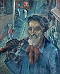 Circle of Pavel Filonov  (Russian, 1883-1941) - Collective Farm Worker - oil on canvas, Pavel Filonov, Click for value