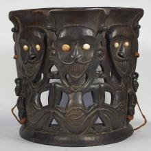 Old Carved Wood Baby Carrier with Human Design, Dayak Borneo