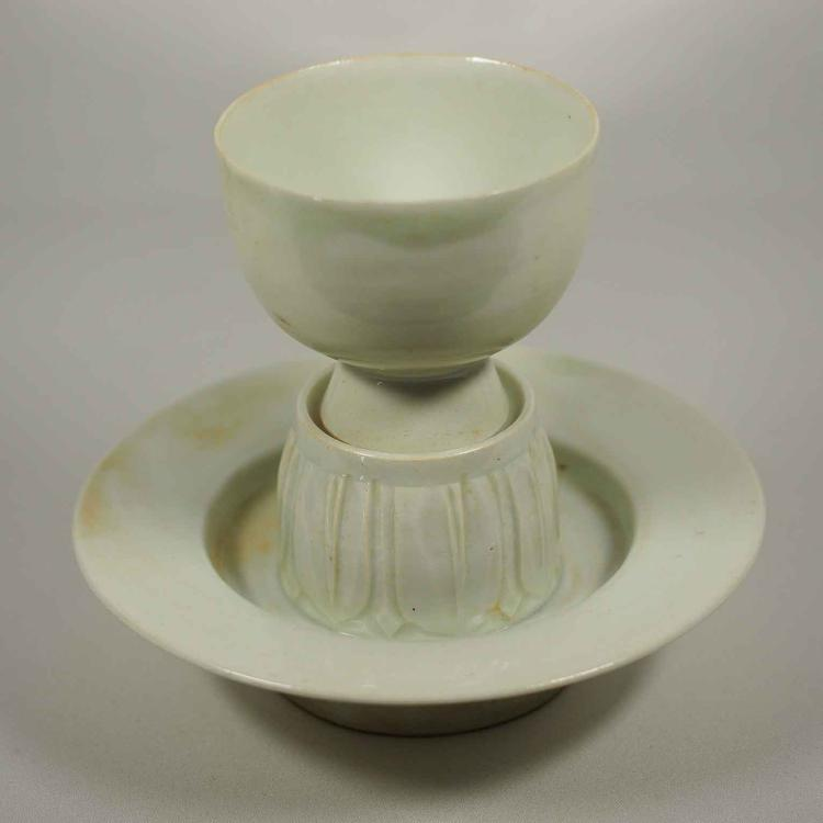 Qingbai Cup and Stand with Carved Lotus, Song Dynasty