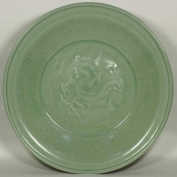 Longquan Charger with Impressed Moulded Dragon, mid Ming Dynasty