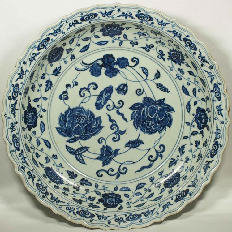 Charger with Lotus and Floral Scroll Design, Xuande Mark, Republic