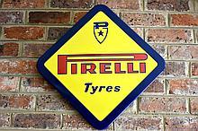 A rare Pirelli tyres diamond shaped enamel sign. Height 60cm, Width 60cm