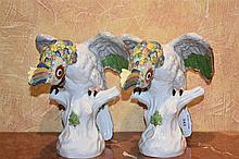 A pair of 19th century Dresden figures of the birds on branches. Height 27c