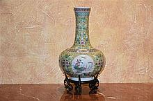 A good Chinese porcelain vase having hand painted all over floral decoratio