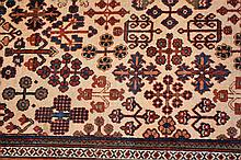 A good quality large hand woven pure wool Persian carpet with geometric dec